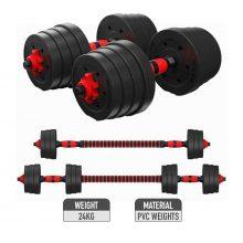 1set PE Weight Dumbbell Set Fitness Dumbbells Detachable Dumbbell Arm Muscle Trainer Household Exercise For Body Workout (24kg)